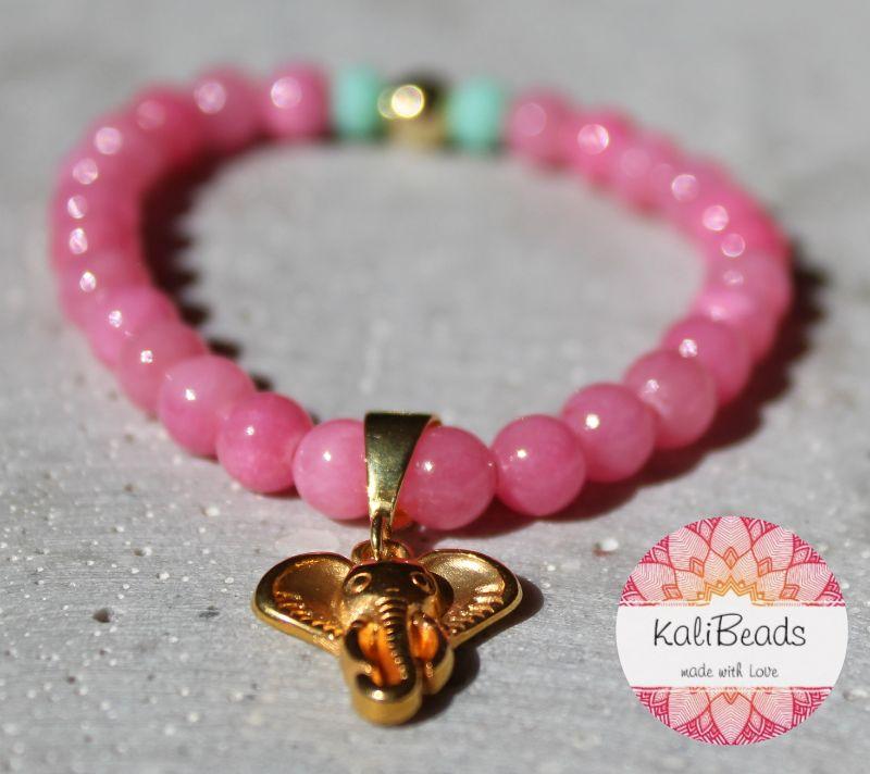 """- Armband """"Pink-Elephant"""" aus Naturstein  - Armband """"Pink-Elephant"""" aus Naturstein"""