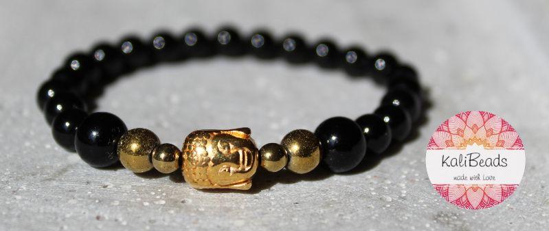 "- Armband ""Black-Buddha"" aus Naturstein  - Armband ""Black-Buddha"" aus Naturstein"