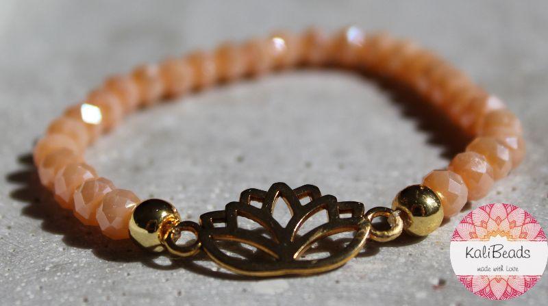 """- Armband """"Lotus-Flower"""" aus facettierten Glasperlen-Rocailles  - Armband """"Lotus-Flower"""" aus facettierten Glasperlen-Rocailles"""