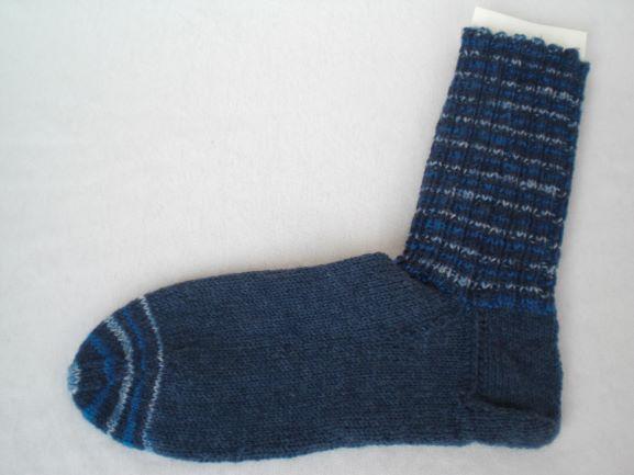 - handgestrickte warme Socken in Gr. 36/37, blau gemustert - handgestrickte warme Socken in Gr. 36/37, blau gemustert