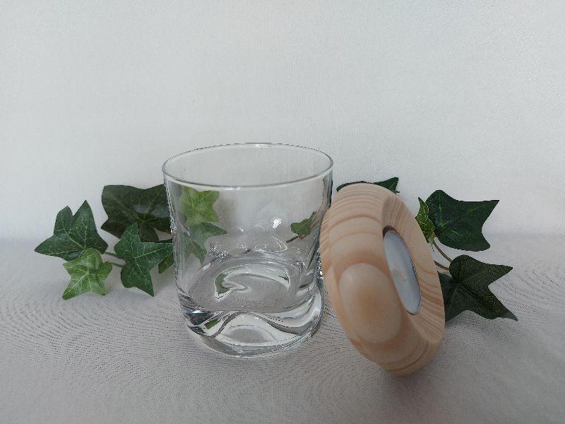 Kleinesbild - kleines Dekoglas mit Deckel/Teelichthalter aus Holz, gedrechselt kaufen