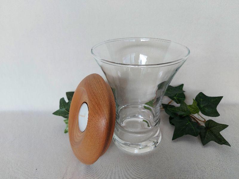 Kleinesbild - großes Dekoglas mit Deckel/Teelichthalter aus Holz, gedrechselt kaufen
