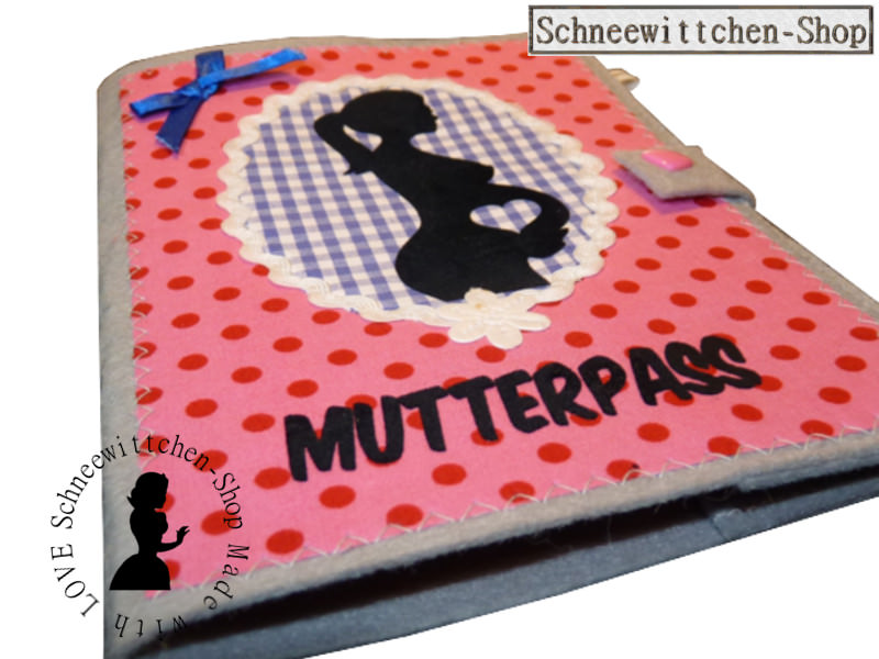 - Mutterpass in rosa mit toller Applikation