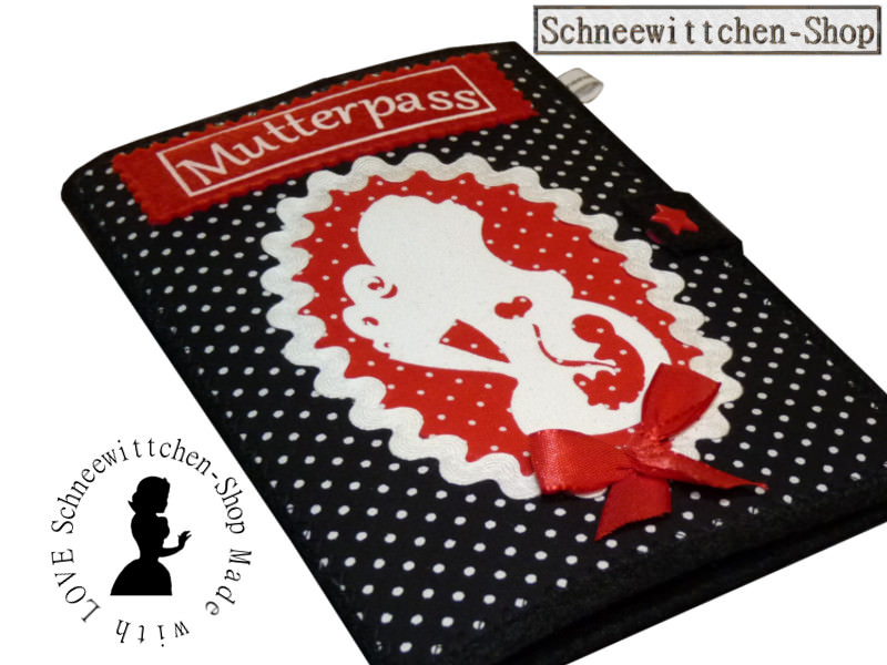- Mutterpass Mutter mit Locken und Kind in schwarz