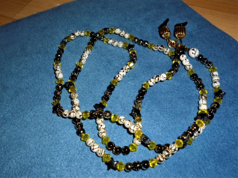 - Handgefädelte Brillenkette *Sternenglitzer*  - Geschenkidee zum Muttertag - - Handgefädelte Brillenkette *Sternenglitzer*  - Geschenkidee zum Muttertag -