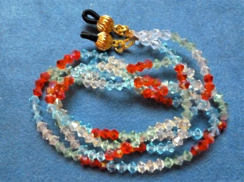 - Handgefädelte zierliche  Brillenkette in Regenbogenfarben - Geschenkidee zum Muttertag - Handgefädelte zierliche  Brillenkette in Regenbogenfarben - Geschenkidee zum Muttertag