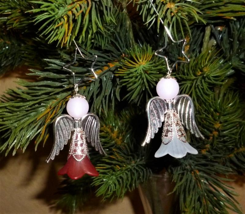 - Handgefertigter Weihnachtsschmuck *Engelchen mit Zieranhänger* in silber im 2er Set - Weihnachtsdekoration - - Handgefertigter Weihnachtsschmuck *Engelchen mit Zieranhänger* in silber im 2er Set - Weihnachtsdekoration -