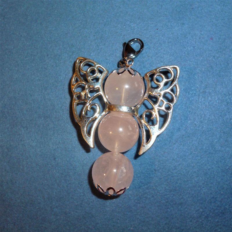 - Handgefertigter Kettenanhänger XXL aus Rosenquarz - Geschenk für Frauen und Mädchen -  - Handgefertigter Kettenanhänger XXL aus Rosenquarz - Geschenk für Frauen und Mädchen -