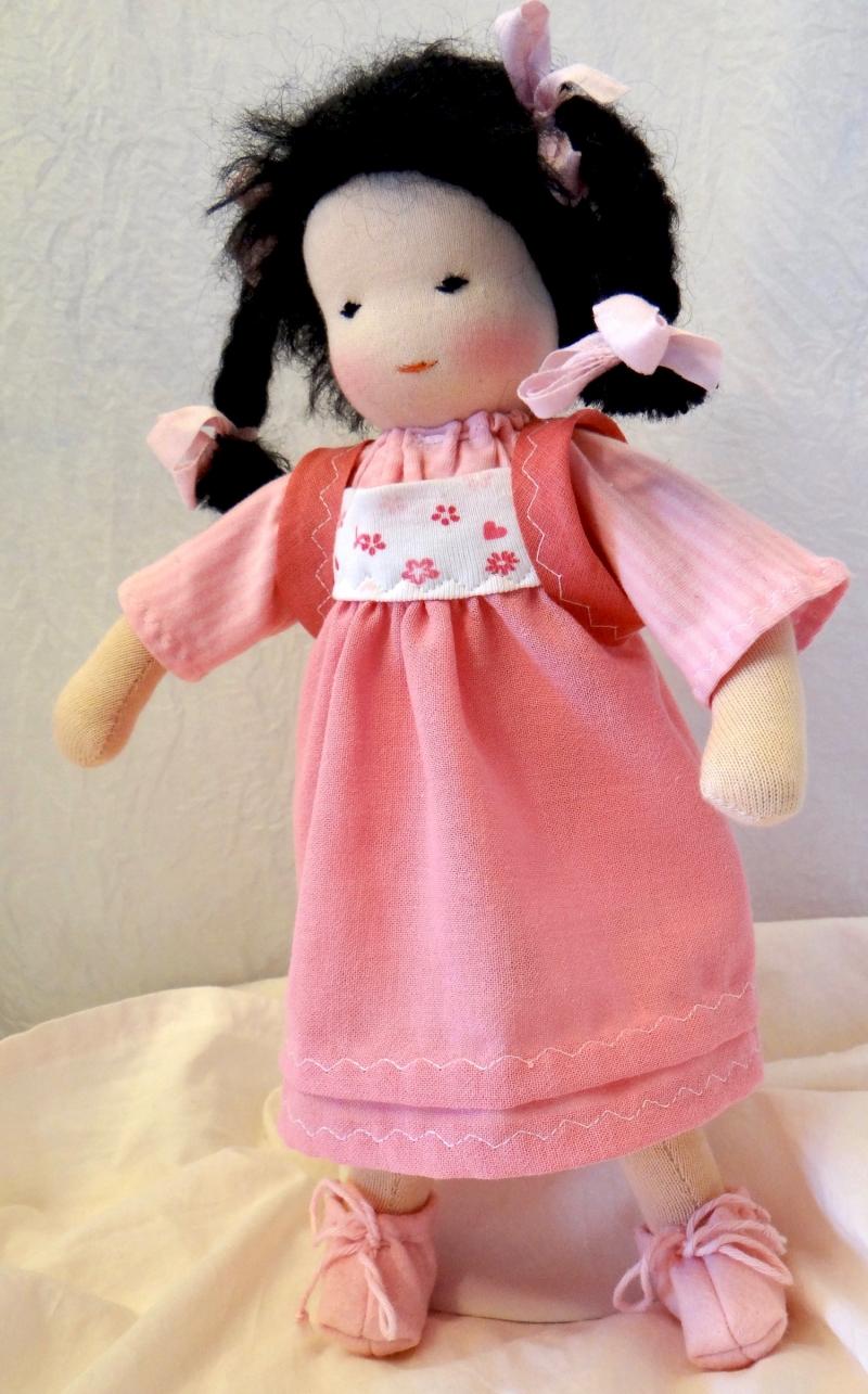 Kleinesbild - Versand kostenlos Stoffpuppe 30 cm Stoffpuppe Mädchen Handarbeit aus Naturmaterialien hergestellt
