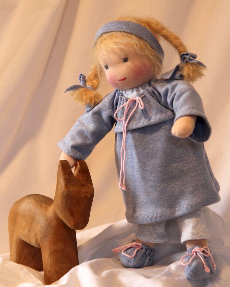 Kleinesbild - Stoffpuppe Mädchen ca.35 cm mit rosa oder blauen Kleid in Handarbeit aus Naturmaterialien nachhaltig hergestellt Plastikfrei
