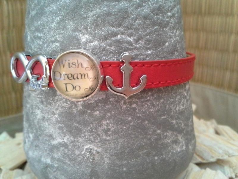 Kleinesbild - Armband ☆ Wish Dream Do ☆  ☀, echtes Leder mit Schiebeperlen