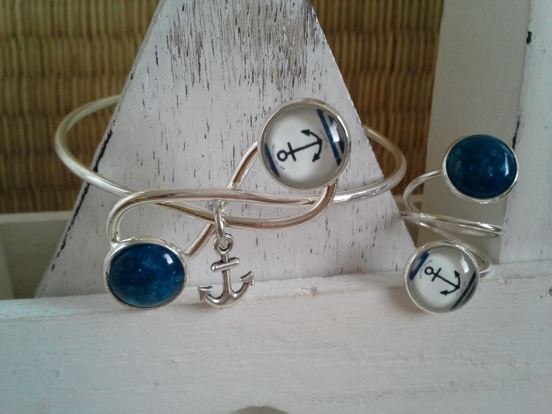 - Armreif und Ring im Set ♥ Anker ♥,  ☆ versilbert  - Armreif und Ring im Set ♥ Anker ♥,  ☆ versilbert