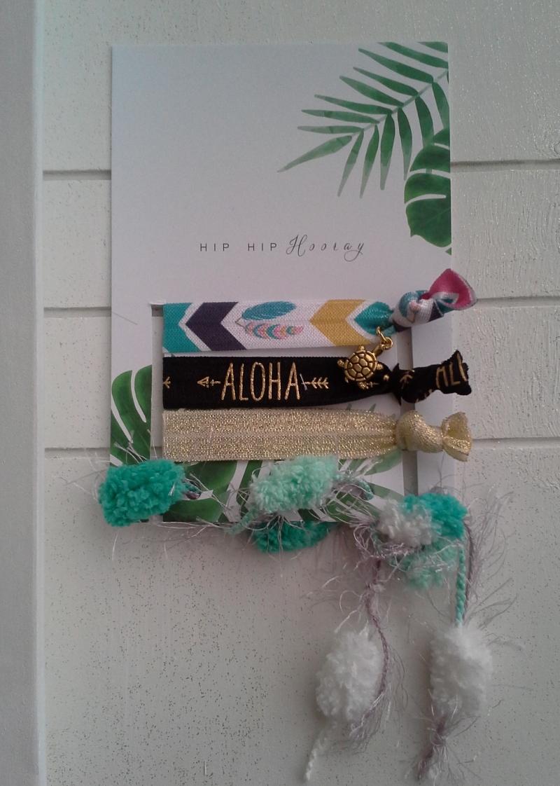 - Haargummis ♥ Aloha ♥ Hip Hip Hooray ☀ , elastische Haarbänder/Armbänder auf Schmuckkarte  - Haargummis ♥ Aloha ♥ Hip Hip Hooray ☀ , elastische Haarbänder/Armbänder auf Schmuckkarte