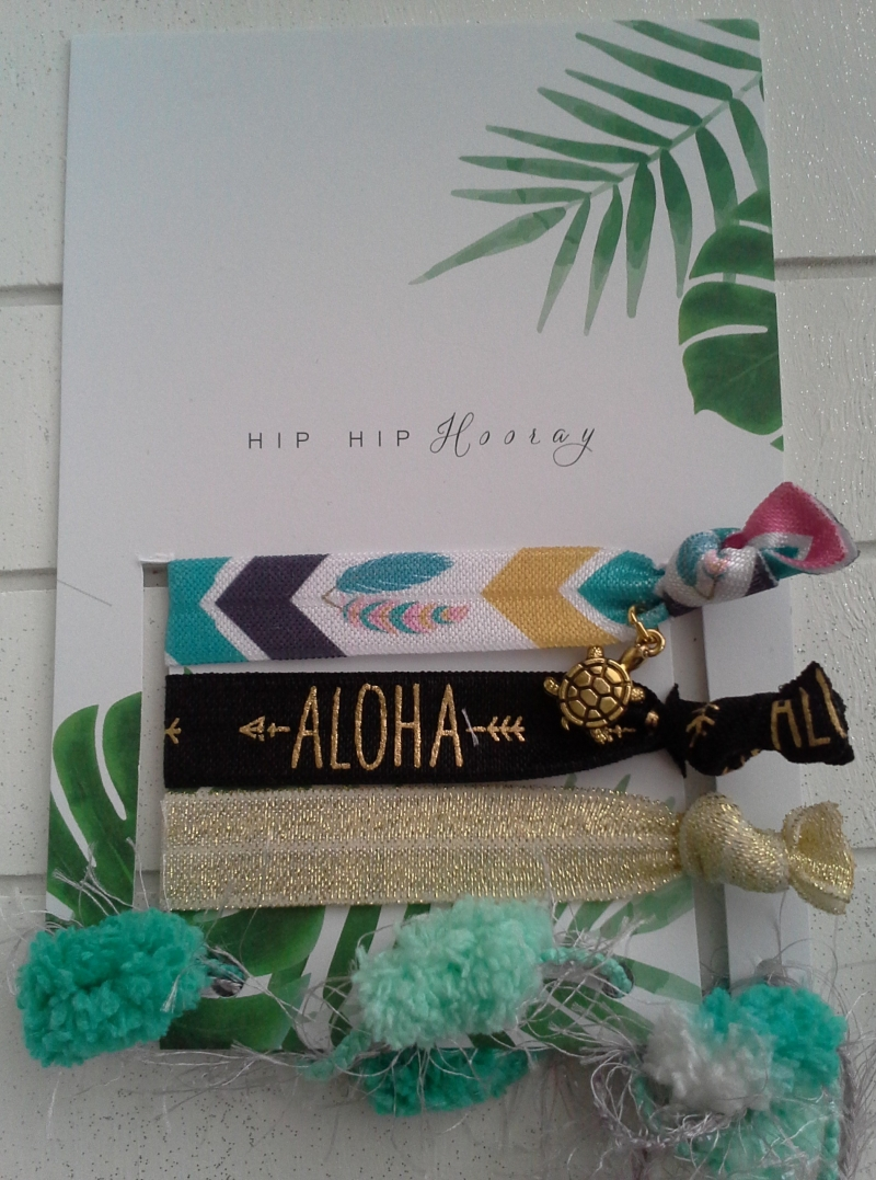 Kleinesbild - Haargummis ♥ Aloha ♥ Hip Hip Hooray ☀ , elastische Haarbänder/Armbänder auf Schmuckkarte