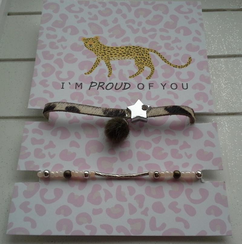 - Armband-Set ♥ Safari ♥ ☆, Lederarmband Leopard + elastisches Armband mit Schmuckkarte - Armband-Set ♥ Safari ♥ ☆, Lederarmband Leopard + elastisches Armband mit Schmuckkarte