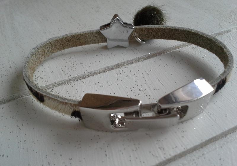 Kleinesbild - Armband-Set ♥ Safari ♥ ☆, Lederarmband Leopard + elastisches Armband mit Schmuckkarte
