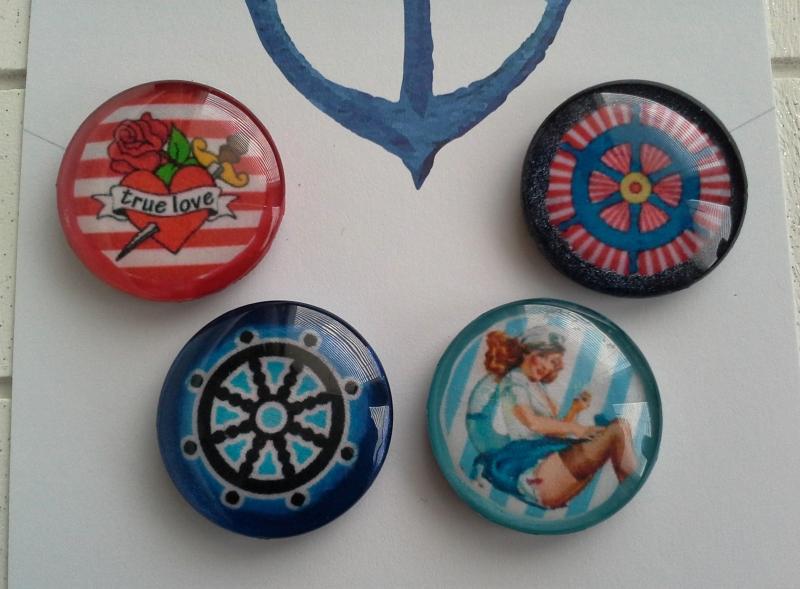 Kleinesbild - Magnetenset ☀ Seefahrt ☀  ♥,  4 Stück, mit Schmuckkarte