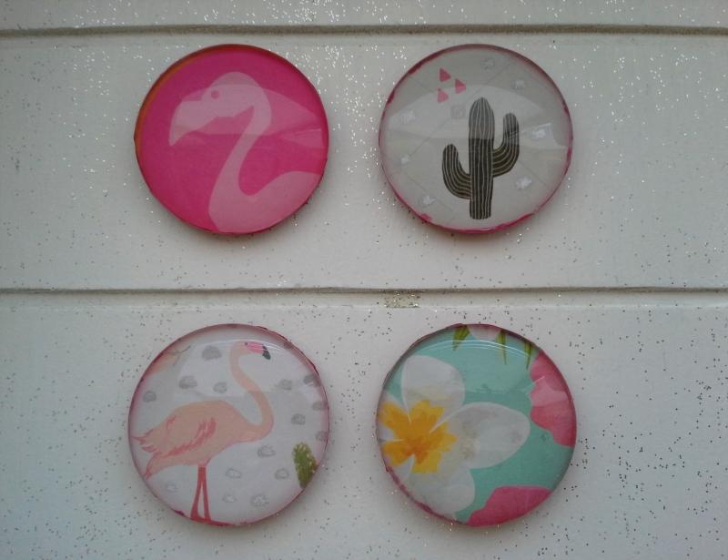 Kleinesbild - Magnetenset ☀ Flamingo ☀  ♥,  4 Stück, mit Schmuckkarte