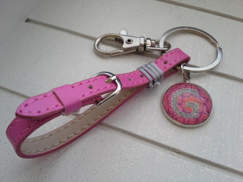 - Schlüsselanhänger ★Pink Lady★ ♡ , aus Kunstleder mit Initialenanhänger - Schlüsselanhänger ★Pink Lady★ ♡ , aus Kunstleder mit Initialenanhänger