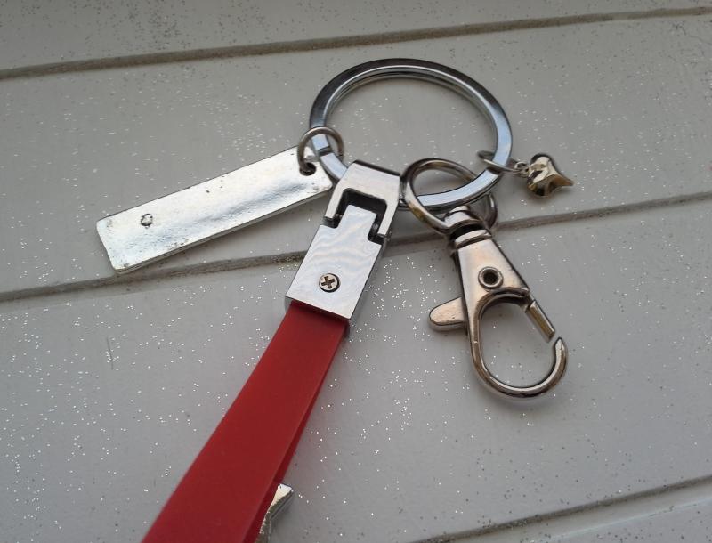 Kleinesbild - Schlüsselanhänger ★ Drive save, I need you here with me ★ ♡ , aus Silikonband, mit Anhänger und Schiebeperle