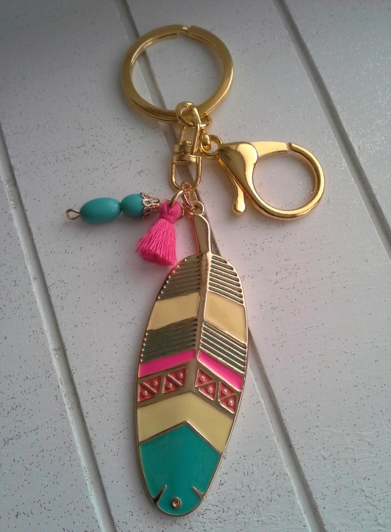 Kleinesbild - Schlüsselanhänger ★Tropical★ ♡ , aus Metall, mit Anhängern und Quaste