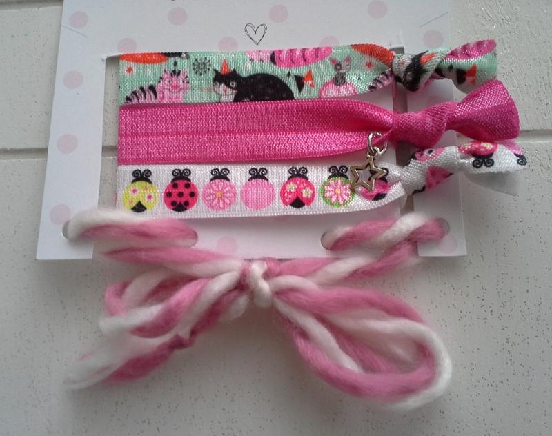Kleinesbild - Haargummis ♥ Katze ♥, elastische Haarbänder/Armbänder auf Schmuckkarte