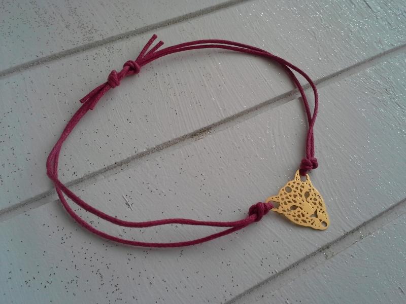 Kleinesbild - Armband ♥ Leopard ♥, geknüpftes Armband mit filigranem Anhänger ☀ individualisierbar!
