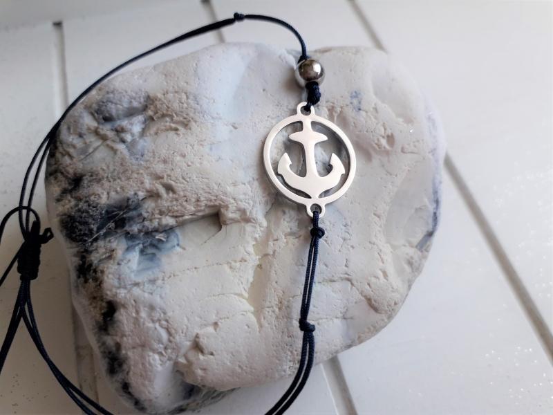 Kleinesbild - Armband ♥ Anker ♥, Edelstahl ☆ geknüpftes Armband mit Anhänger ☀ individualisierbar!