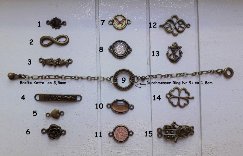 Kleinesbild - Armband ♥ Kreis ♥ ☆ Metallarmband mit Anhänger ☀ individualisierbar!