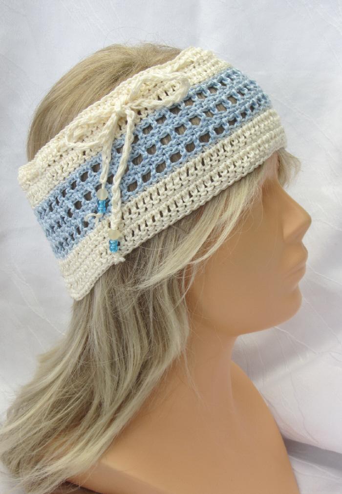 - Handgehäkeltes Stirnband oder Schal Damen 2 in 1 aus Baumwolle in Hellblau und Beige kaufen - Handgehäkeltes Stirnband oder Schal Damen 2 in 1 aus Baumwolle in Hellblau und Beige kaufen