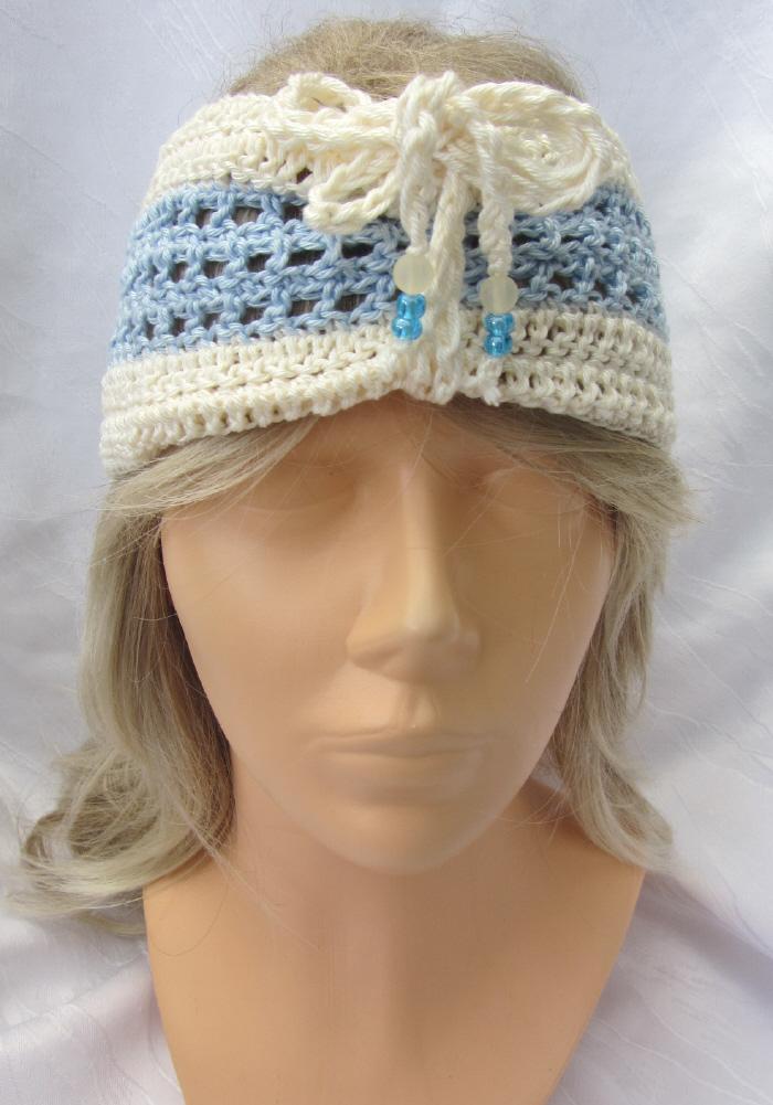 Kleinesbild - Handgehäkeltes Stirnband oder Schal Damen 2 in 1 aus Baumwolle in Hellblau und Beige kaufen