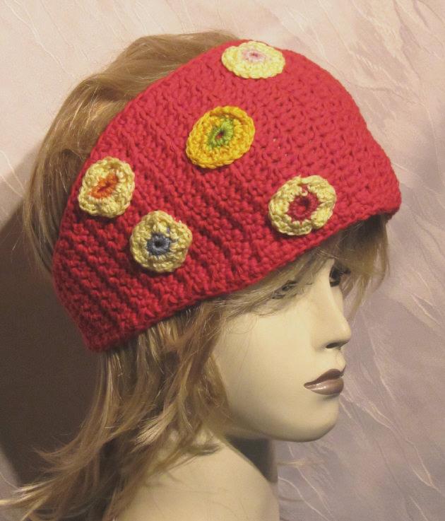 - Handgehäkeltes Stirnband ☀ Damen aus Baumwolle in Rot mit bunten Kreisen kaufen - Handgehäkeltes Stirnband ☀ Damen aus Baumwolle in Rot mit bunten Kreisen kaufen