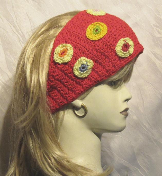 Kleinesbild - Handgehäkeltes Stirnband ☀ Damen aus Baumwolle in Rot mit bunten Kreisen kaufen