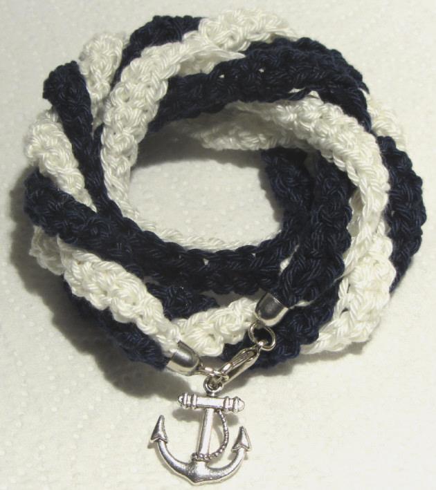 - Handgehäkeltes Wickelarmband ♡ Damen aus Baumwolle im maritimen Stil kaufen - Handgehäkeltes Wickelarmband ♡ Damen aus Baumwolle im maritimen Stil kaufen