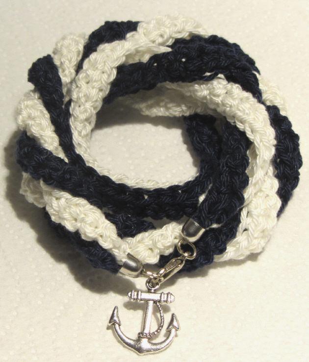 Kleinesbild - Handgehäkeltes Wickelarmband ♡ Damen aus Baumwolle im maritimen Stil kaufen
