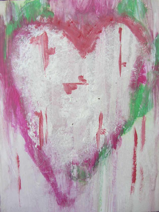 Kleinesbild - Handgemaltes Acrylbild mit dem Titel Weinendes Herz ♡ gemalt mit Acrylfarben und Aquarellfarben auf Pappe direkt von der Künstlerin kaufen
