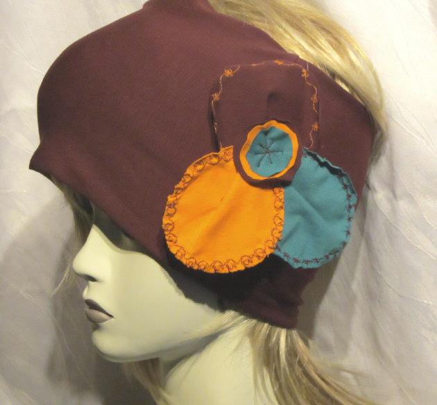 - Stirnband handgemacht aus Baumwolljersey in Aubergine Orange und Türkis kaufen - Stirnband handgemacht aus Baumwolljersey in Aubergine Orange und Türkis kaufen