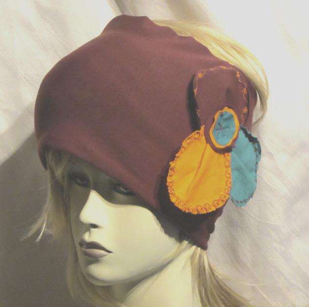 Kleinesbild - Stirnband handgemacht aus Baumwolljersey in Aubergine Orange und Türkis kaufen