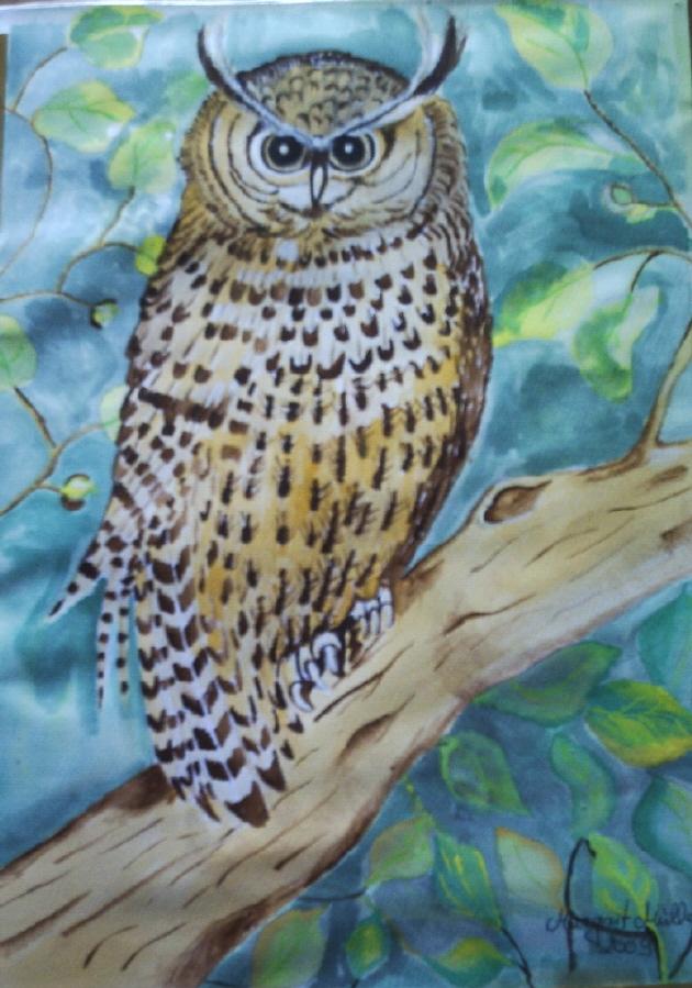 Kleinesbild - Handgemaltes Aquarellbild mit dem Titel Eule gemalt mit Aquarellfarben auf Aquarellpapier direkt von der Künstlerin kaufen