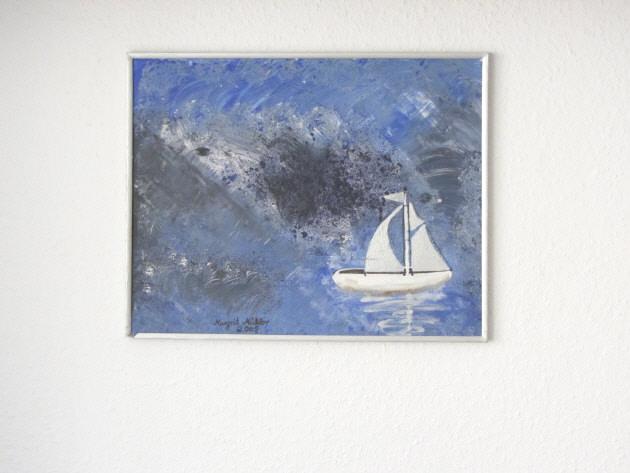 - Handgemaltes Acrylbild mit dem Titel Boot in Not gemalt mit Acrylfarben auf einer Hartfaserplatte direkt von der Künstlerin kaufen - Handgemaltes Acrylbild mit dem Titel Boot in Not gemalt mit Acrylfarben auf einer Hartfaserplatte direkt von der Künstlerin kaufen
