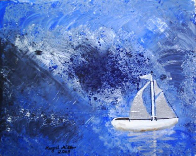 Kleinesbild - Handgemaltes Acrylbild mit dem Titel Boot in Not gemalt mit Acrylfarben auf einer Hartfaserplatte direkt von der Künstlerin kaufen