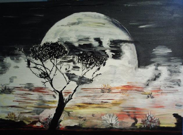 Kleinesbild - Handgemaltes Acrylbild mit dem Titel Mondschein-Nacht gemalt mit Acrylfarben auf Keilrahmen direkt von der Künstlerin kaufen