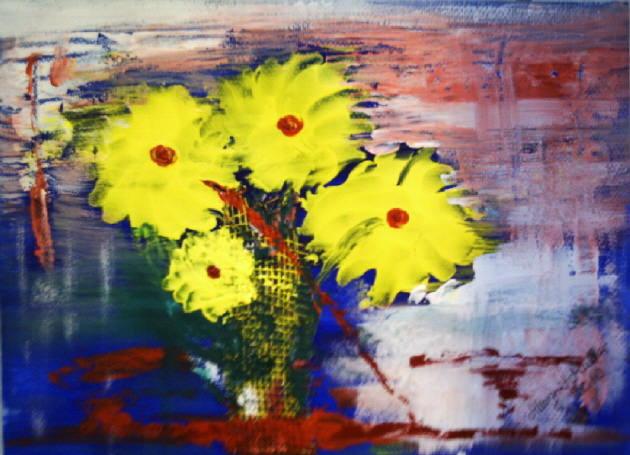 Kleinesbild - Handgemaltes Acrylbild Collage mit dem Titel Zephir gemalt mit Acrylfarben auf Acrylpapier direkt von der Künstlerin kaufen