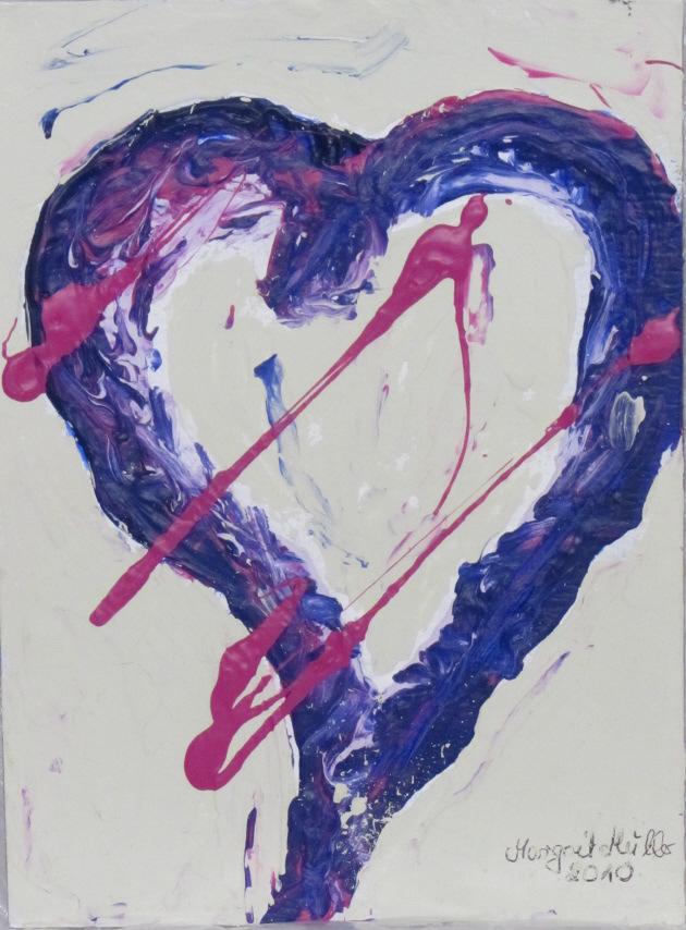 Kleinesbild - Acrylbild mit dem Titel Einsames Herz ♡ handgemalt  mit Acrylfarben auf Pappe direkt von der Künstlerin das Original kaufen