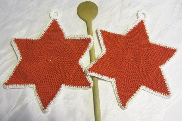 - Ein Paar handgehäkelte Topflappen ★ Sterne gehäkelt aus Baumwolle in Rot kaufen oder in Ihrer Wunschfarbe bestellen  - Ein Paar handgehäkelte Topflappen ★ Sterne gehäkelt aus Baumwolle in Rot kaufen oder in Ihrer Wunschfarbe bestellen