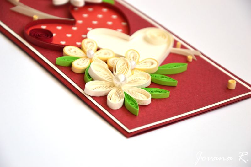 Kleinesbild - Grußkarten zum Valentinstag / Quilling Grußkarten / Hochzeitsgrußkarte / Liebe Sie Karte / 3d Valentinsgrußkarte / rote Karte / Herzen / 3d Karte ♥