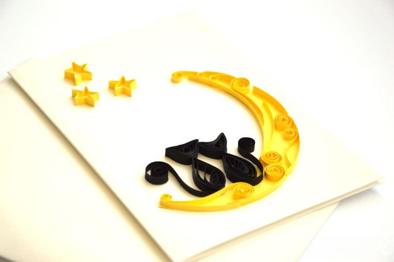 Kleinesbild - Quilling Karte / Valentinsgruß-Tageskarte / Halloween / 3d Karte / Katzen in der Liebe / Katzen auf Mondschein / ich liebe dich / Grußkarte / handgemachte Karte / wedding