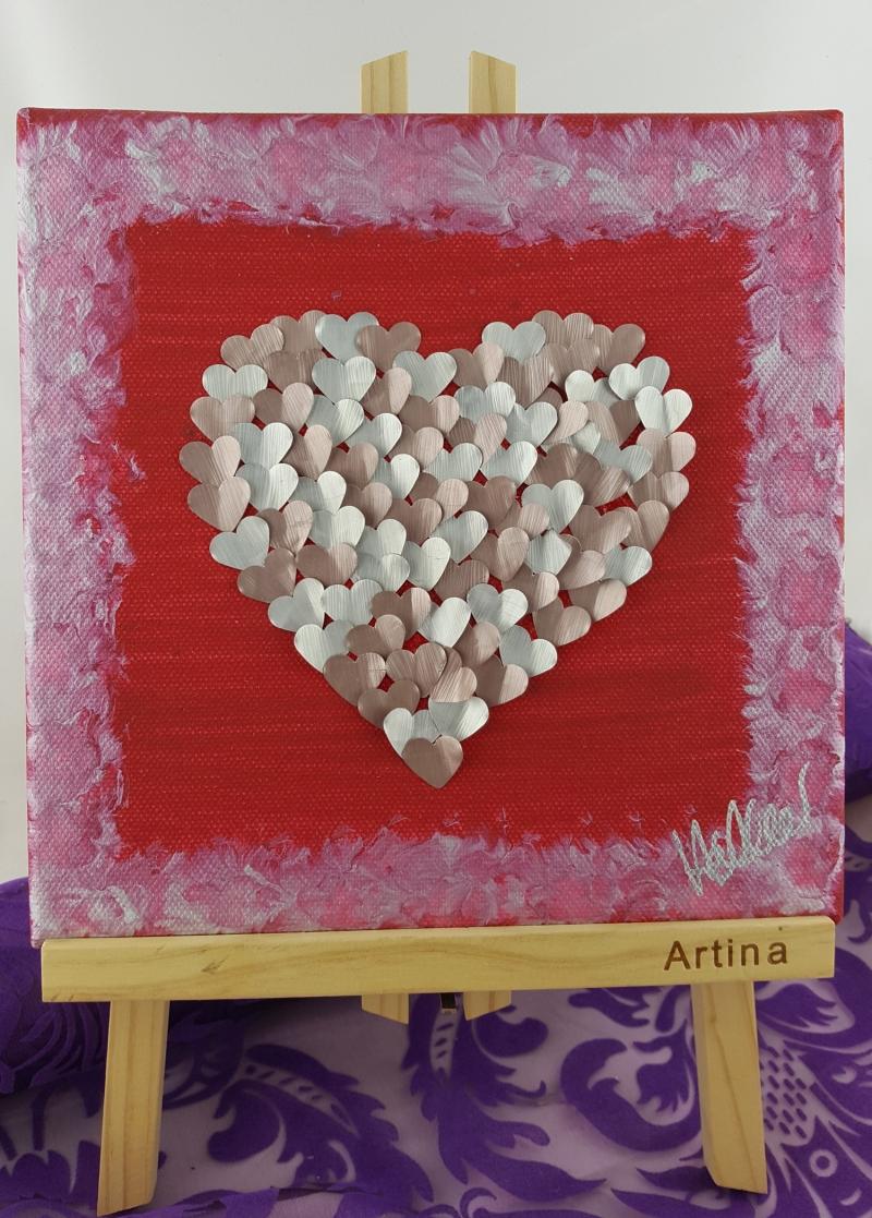 - Herz aus Kaffekapseln auf Leinwand ♥Upcycling♥ rosa silber - Herz aus Kaffekapseln auf Leinwand ♥Upcycling♥ rosa silber