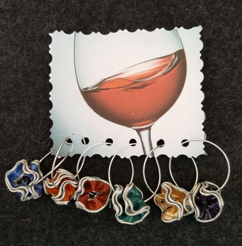 - Weinglasmarkierer bunt 6 Stück  - Weinglasmarkierer bunt 6 Stück