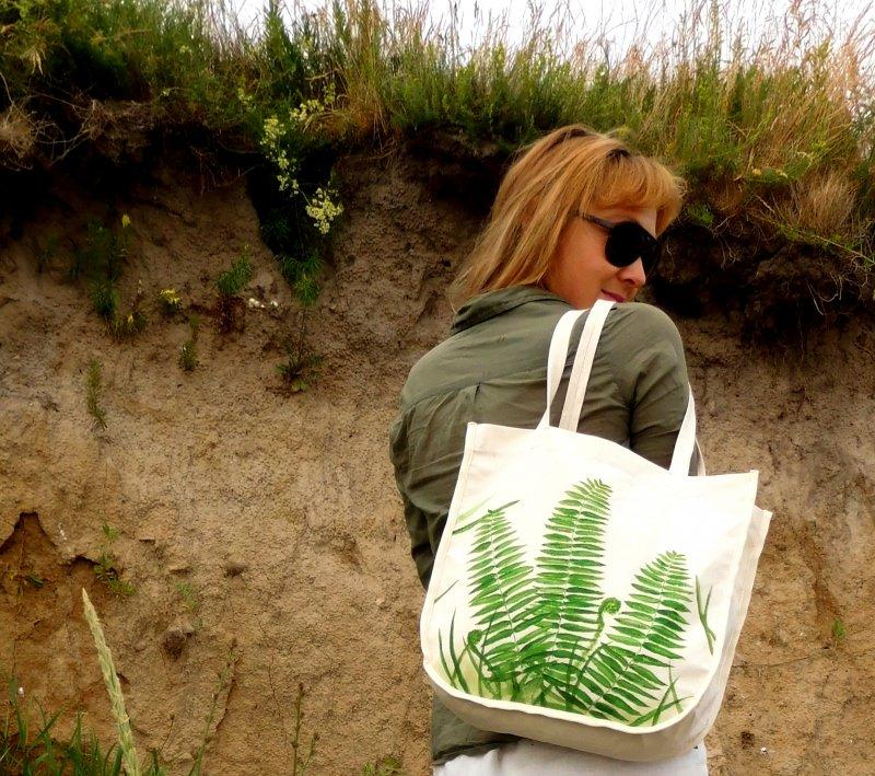 - Naturbeutel  ☀Farn☀ Tasche & Schultertasche - Naturbeutel  ☀Farn☀ Tasche & Schultertasche